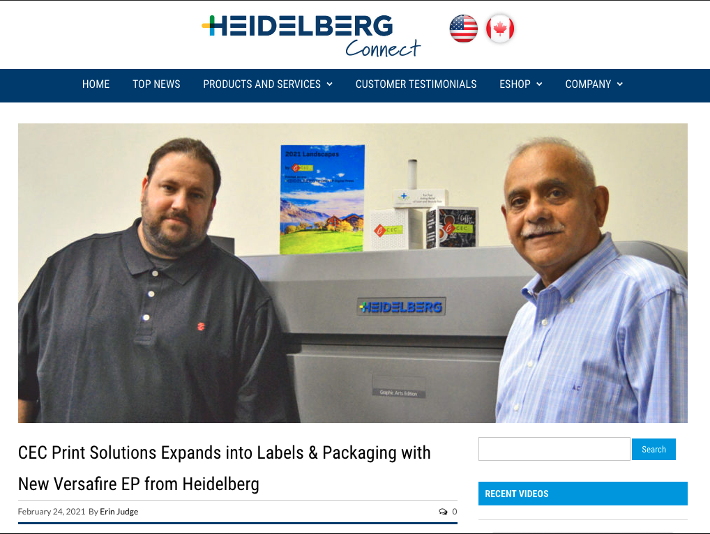 CEC Print Solutions Expands into Labels & Packaging with New Versafire EP from Heidelberg
